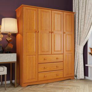 lemari pakaian minimalis kayu solid 4 pintu jati