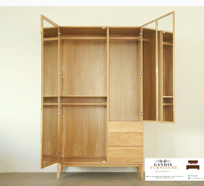 model lemari pakaian minimalis kayu jati solid
