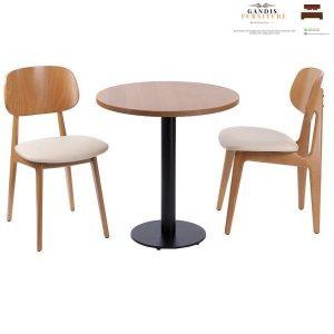 meja kursi cafe besi minimalis kombinasi kayu