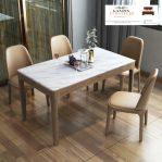 set meja makan marmer minimalis mewah 6 kursi