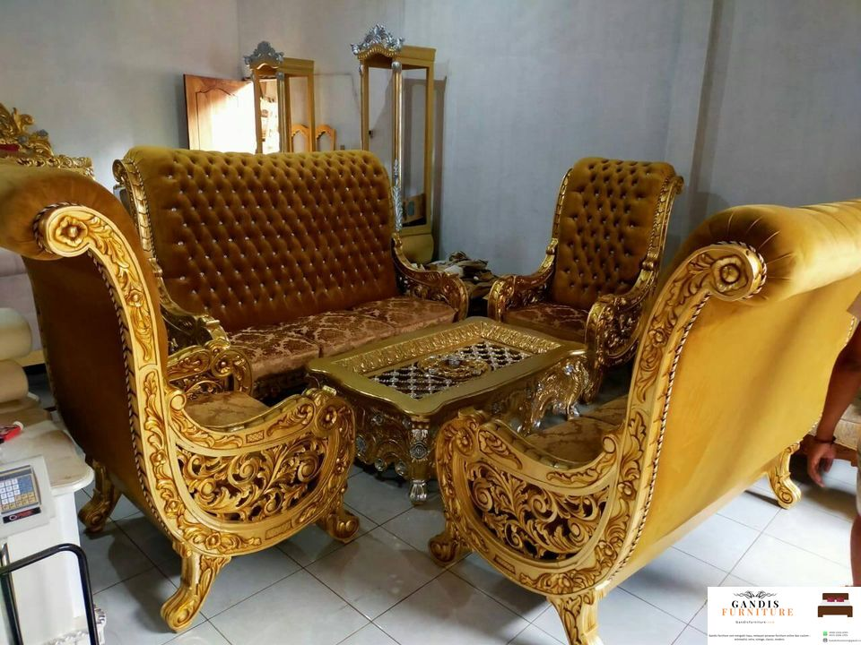 kursi ruang tamu mewah kayu
