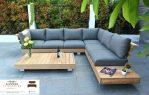 kursi taman minimalis kayu model sudut