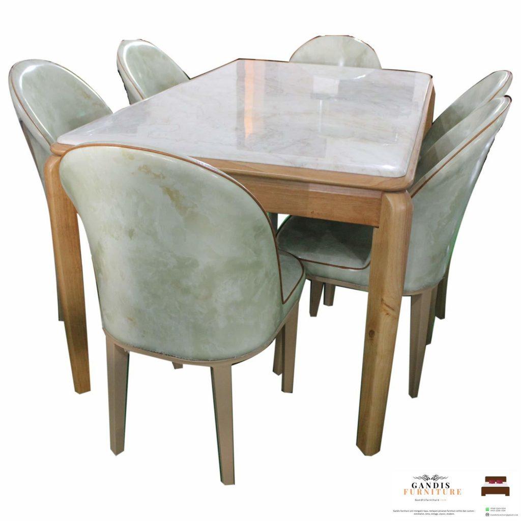 meja makan marmer minimalis rangka kayu sungkai solid