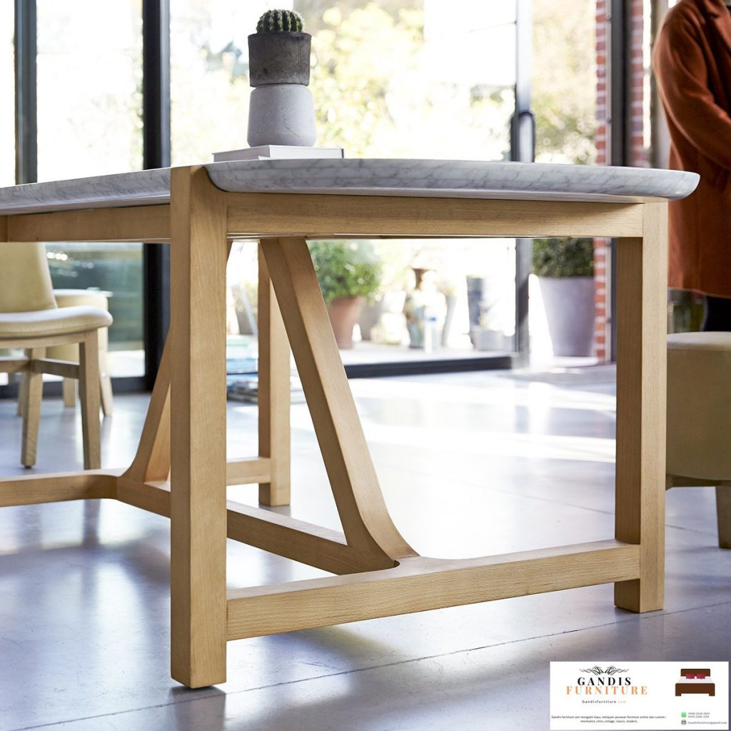 meja makan mewah marmer rangka kayu