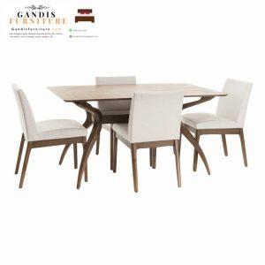 meja makan modern minimalis kayu jati solid