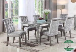 meja makan mewah 6 kursi lapis kaca