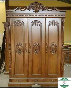 Lemari pakaian kayu minimalis 3 pintu