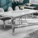 meja makan mewah marmer kaki stainless 6 kursi terbaru