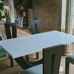 meja makan marmer mewah kayu jati white carara
