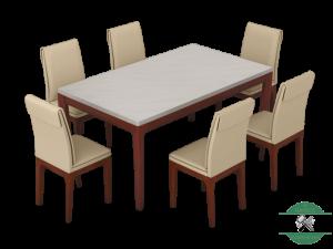 set meja makan marmer