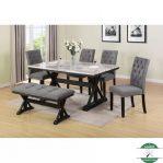 meja makan 6 kursi top marmer alami