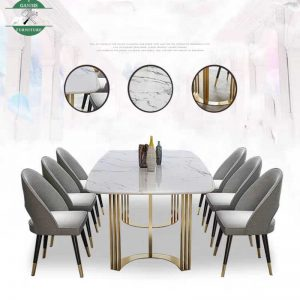 Meja makan marmer kaki stainless steel 6 kursi