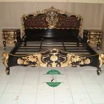 Tempat tidur mewah racoco kayu jati jepara