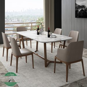 Meja makan marmer minimalis kayu jati modern