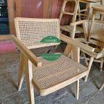 Kursi Cafe kayu jati kombinasi rotan alami