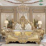 Set kamar tidur mewah kayu jati jepara warna emas