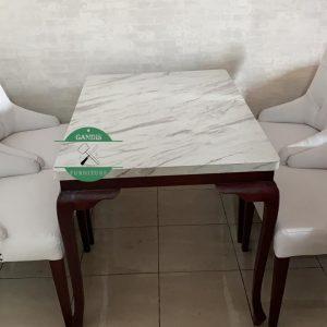 Meja makan marmer minimalis putih jepara