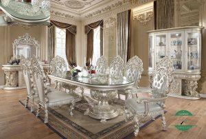 Meja makan mewah modern klasik 8 kursi