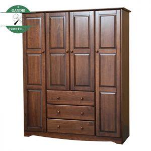 Lemari pakaian 4 pintu Minimalis kayu jati jepara