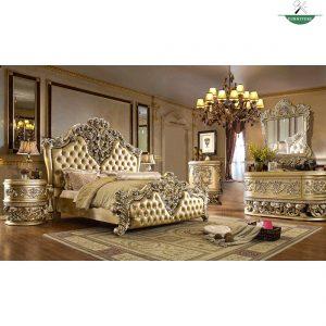 Tempat tidur kayu jati mewah warna emas