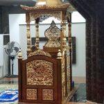 Mimbar masjid kayu jati kaligrafi jepara