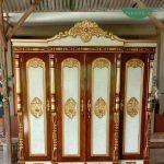 lemari pakaian kayu jati 4 pintu model cinta