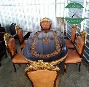 Meja Makan Jati Jepara model ganesa ukiran klasik