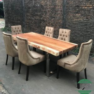 Meja trembesi modern kombinasi kaki stainless kayu solid jepara
