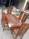 Meja makan kayu miniamlis model asli jepara