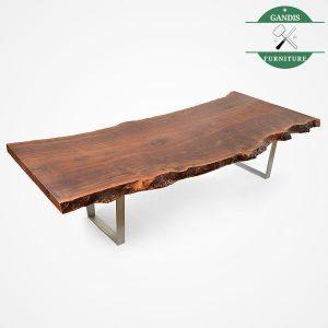 Meja makan kaki stainless kayu trembesi jepara