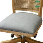 Kursi kantor roda kayu jati kombinasi rotan alami