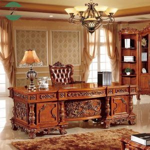 Meja kerja kayu jati ukiran klasik antik