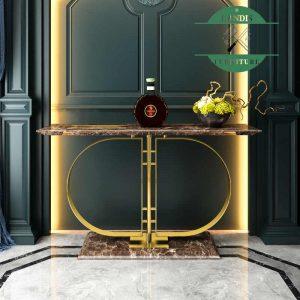 Meja konsul marmer rangka stainless emas