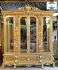 Lemari kaca hias kayu jati ukiran jepara warna emas
