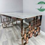 Meja makan kaki stainless top marmer putih asli