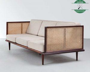 Sofa Minimalis Ruang Tamu Kombinasi Rotan