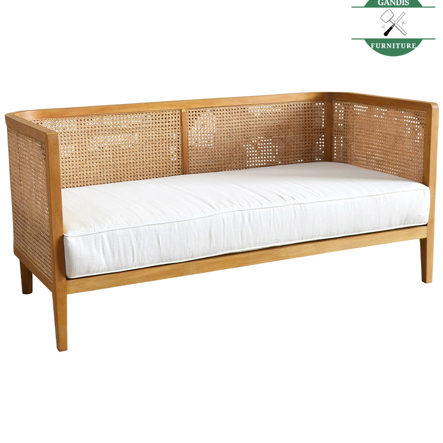 Sofa Bed Minimalis Kayu Kombinasi Rotan