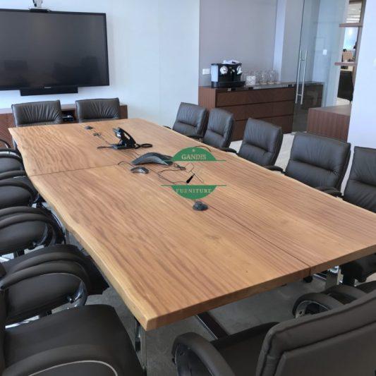 Meja Rapat Kayu Trembesi Panjang Utuhan | Meja Meeting Kayu trembesi