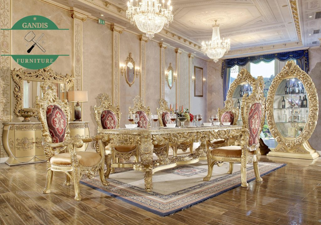 Meja Makan Mewah Ukiran Jepara Warna Emas Klasik