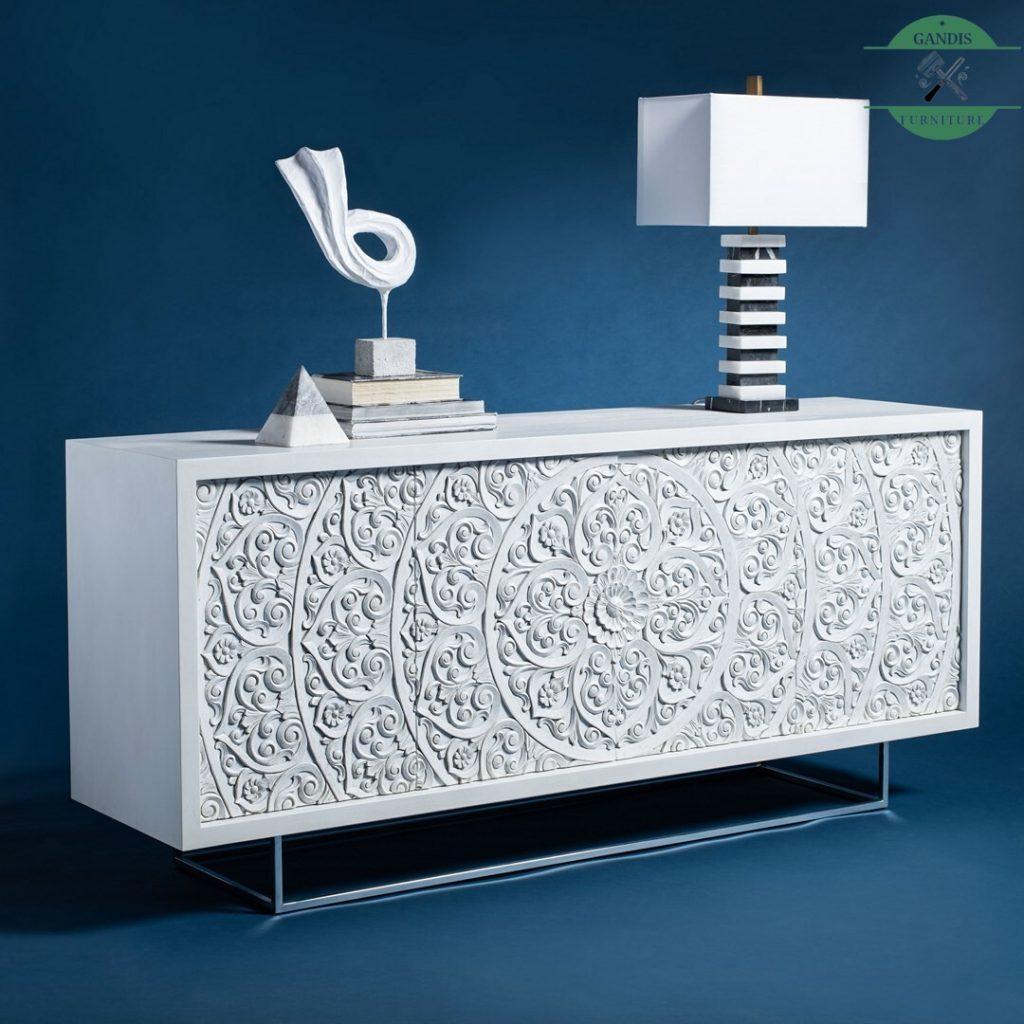 Bufet Minimalis Klasik Kayu Jati White Wash