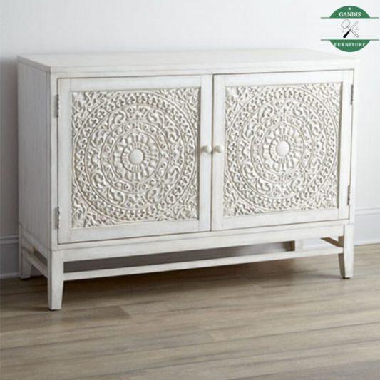 Bufet Jati Minimalis Kayu Asli Jepara White Wash